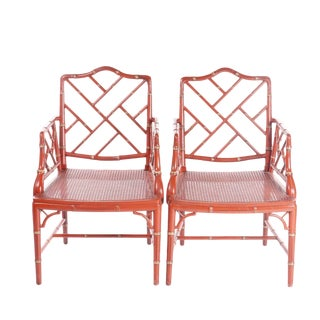 1990s Vintage Chinese Chippendale Style Arm Chairs- A Pair For Sale