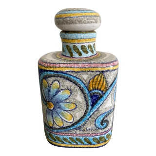Vintage Hand Painted Signed Italian Art Pottery Bottle For Sale