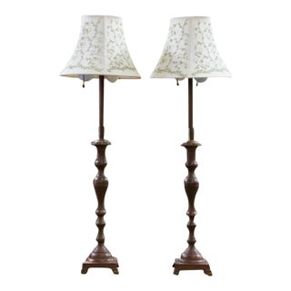 Oil-Rubbed Brass Candlestick Lamps - A Pair