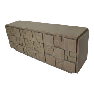 Lane Mid-Century Modern Brutalist Credenza Dresser in Custom Grey Finish For Sale