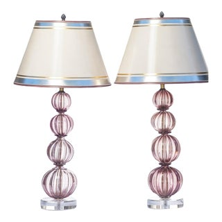 20th C. Italian Mid-Century Purple Murano Lamps - a Pair