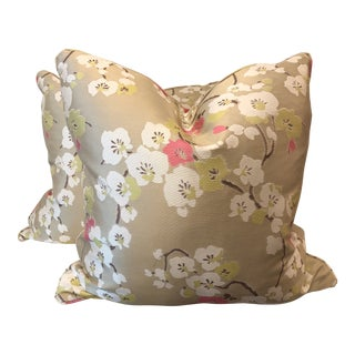 """Cherry Blossom 22"""" Pillows-A Pair For Sale"""