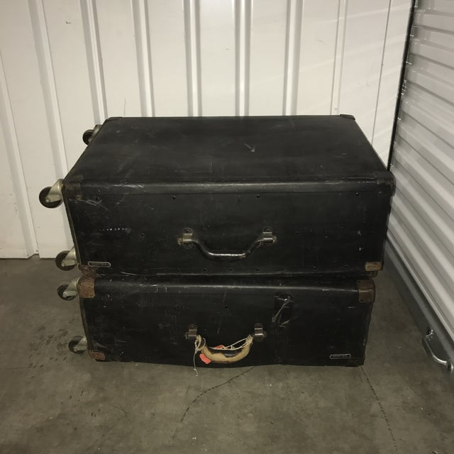 Industrial Vintage Black Trunks on Rollers- A Pair For Sale - Image 3 of 8