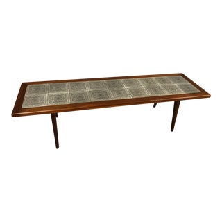 Walnut Mid-Century Coffee Table With Tile Top For Sale