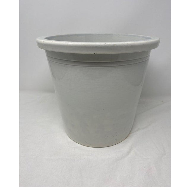 White glazed French pottery, circa 1870. So decorative, with a plant or to store your kitchen utensils.