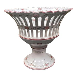 French Faience d'Art Malicorne Pottery Compote For Sale