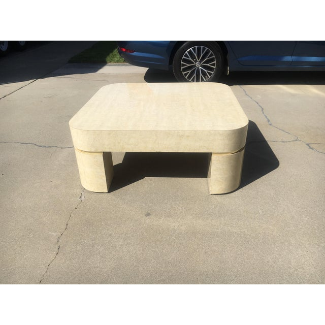 1980s Karl Springer Style Mid-Century Modern Ello Goatskin Coffee Table For Sale - Image 5 of 7