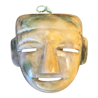 Vintage Latin American Carved Jade Mask Decor