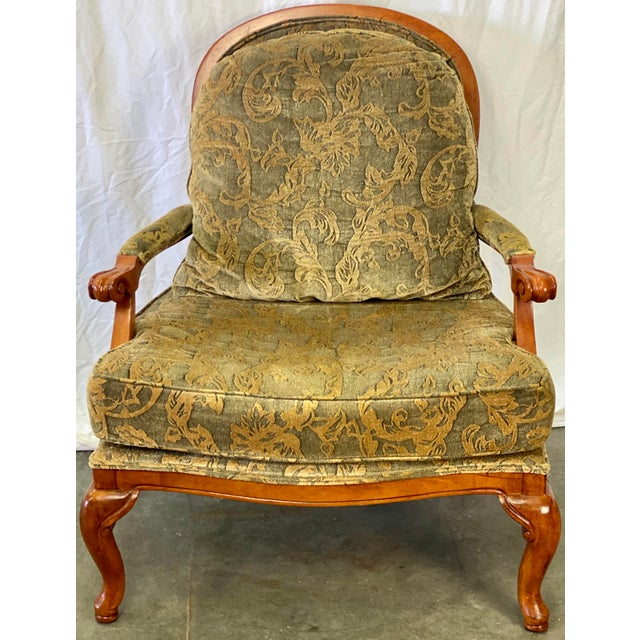 Vintage Bergere Accent Chair by Drexel Heritage featuring Sturdy Walnut Construction, Green Upholstery with Golden Vines...