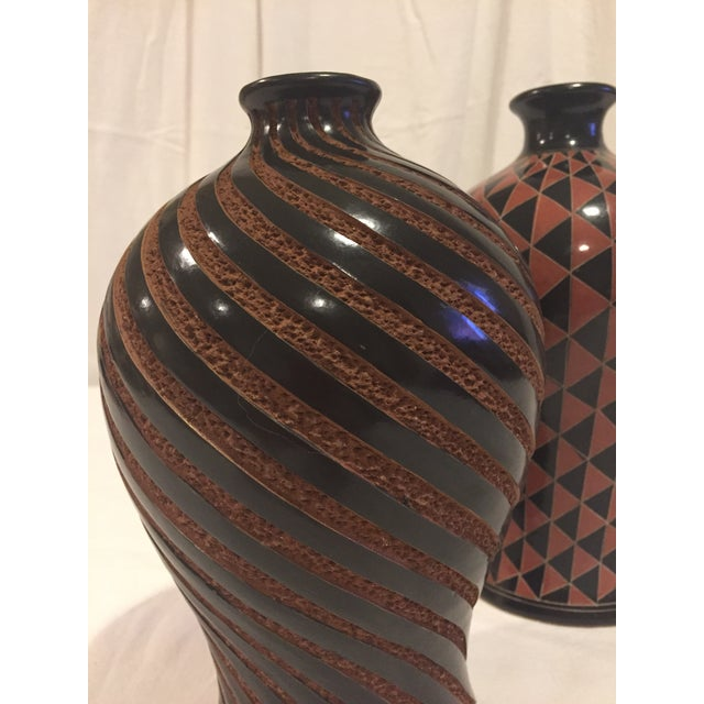 """A great pair for display! 10"""" t x 6"""" d (swirl) 11"""" t x 7"""" d (triangle)"""