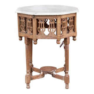 British Colonial Octagonal Marble Top Table For Sale