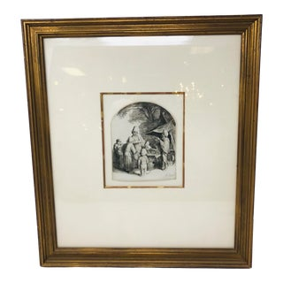 """17th Century """"The Quack"""" Etching by Adriaen Van Ostade, Framed For Sale"""