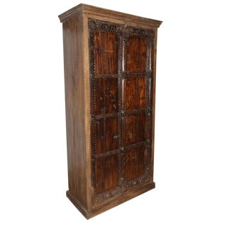 Antique Indian Furniture Spanish Colonial Dark Teak Wood Storage Wardrobe For Sale