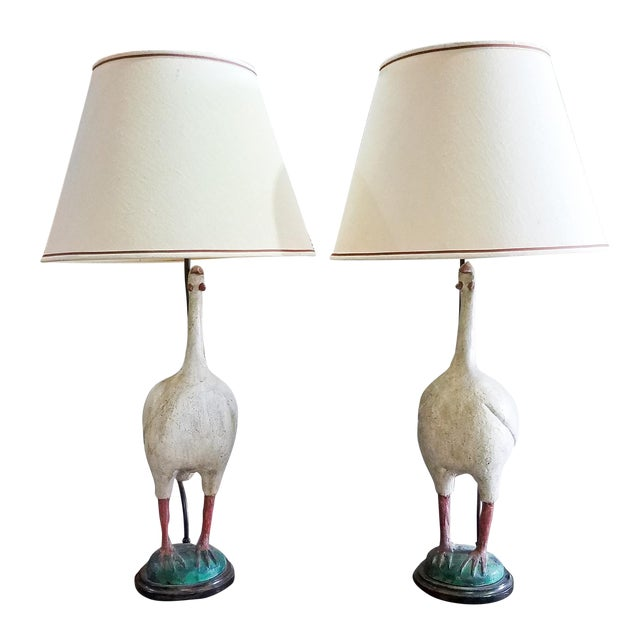 1950s Vintage Painted Standing Bird Lamps - a Pair For Sale