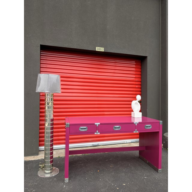 1980s Glossy Raspberry Bernhardt Campaign Desk For Sale - Image 9 of 10