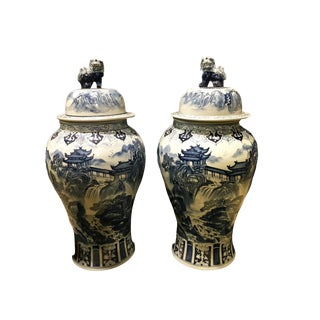 "Chinoiserie Porcelain Landscape Ginger Jars - a Pair 36"" H For Sale"