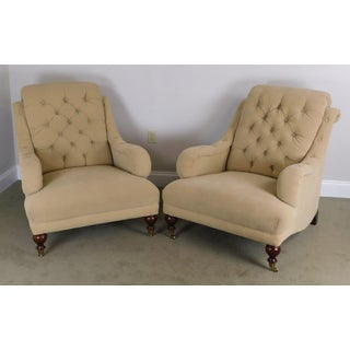 Sherrill English Regency Style Tufted Pair Lounge Chairs Preview