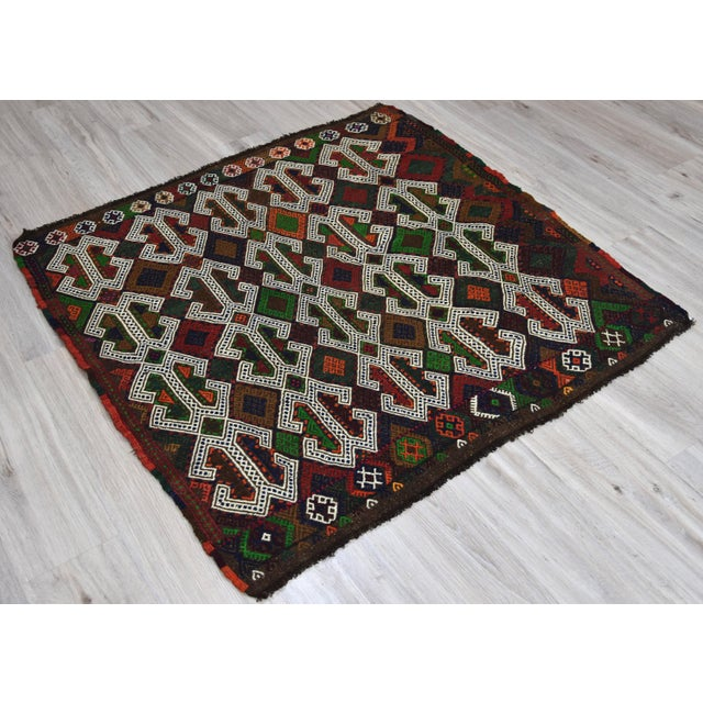 1950s Southwestern Wool Kilim - 3′11″ × 4′3″ For Sale - Image 5 of 8