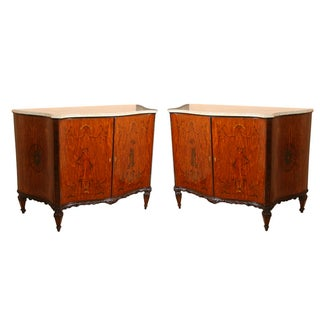 Edwardian Adams Style Marble Top Cabinets - Pair For Sale