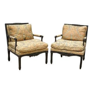 Antique Ebonized Continental Fortuny Cushion Arm Chairs - A Pair
