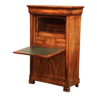 Mid-French Louis Philippe Carved Walnut Secretary Cabinet For Sale