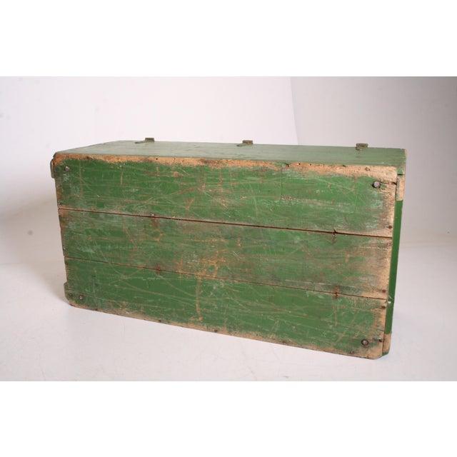 Vintage Military Green Wood Foot Locker - Image 11 of 11