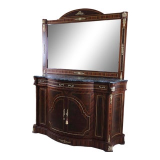 Buffet, Louis XV Cabinet With Marble Top, Antique Vintage Furniture Reproduction, French Victorian Furniture For Sale
