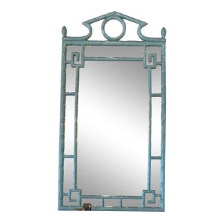 Vintage Palm Beach Blue Lacquered Faux Bamboo Greek Key Pagoda Wall Mirror For Sale