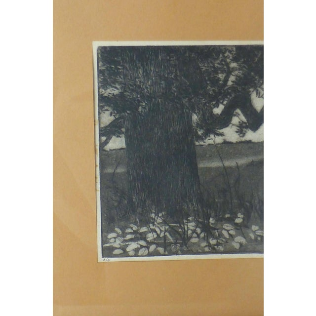 Mid-Century Modern Black/White Print by Ann Usborne Signed Autumn Night For Sale - Image 3 of 10