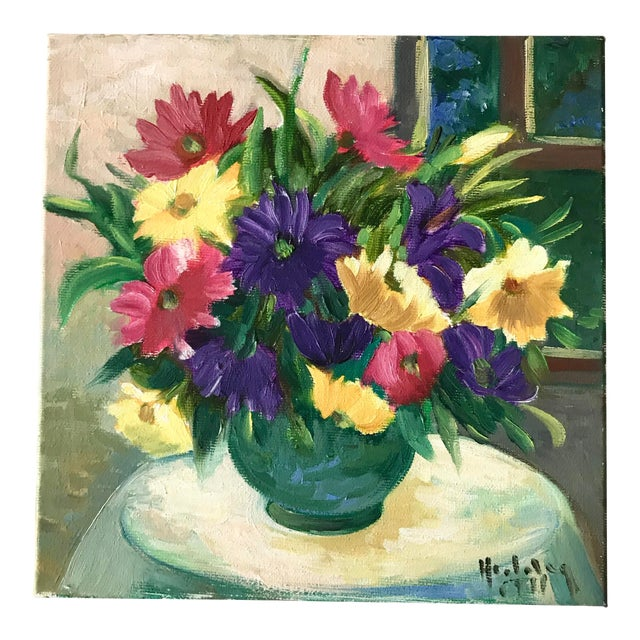 Vintage Floral Still Life Bright Original Oil Painting For Sale