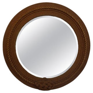 Large French Beveled Rope Mirror by Audoux & Minet For Sale