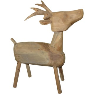 Indonesian Wooden Standing Deer Figurine For Sale