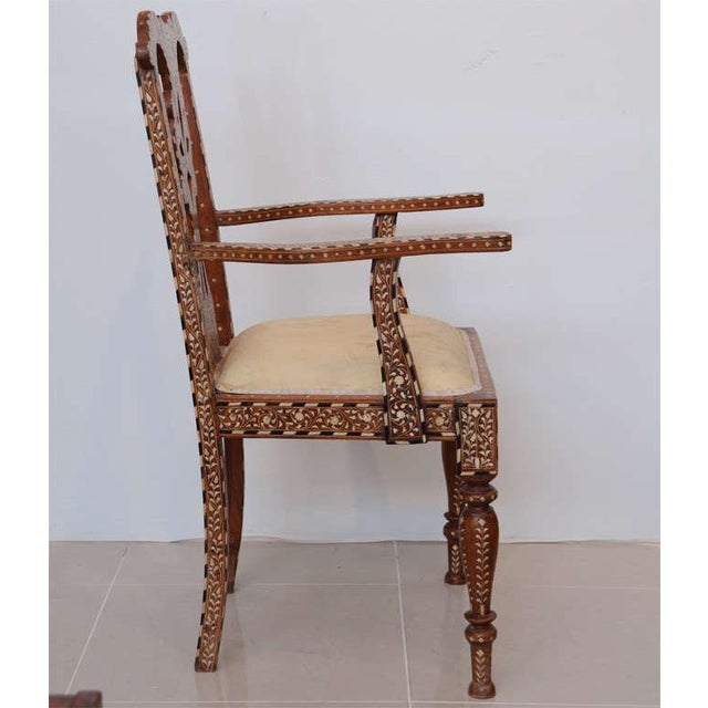 Mid 19th Century Rare Set of Four Anglo-Indian Hardwood and Bone Inlaid Armchairs For Sale - Image 5 of 11
