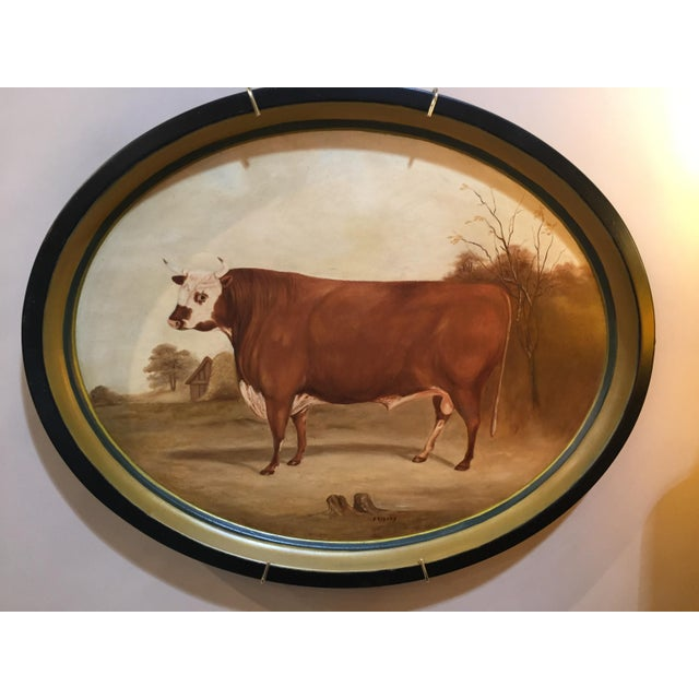 Original Bull in Landscape Hand Painted Tole Tray For Sale - Image 4 of 4