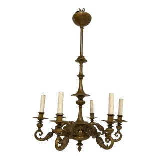 1920s Caldwell Bronze 6 Lights Chandelier For Sale