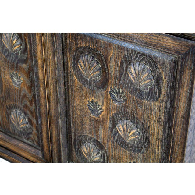 Cerused Carved Scallop Oak Leather Wrapped Campaign Portable Secretary Desk For Sale - Image 6 of 13
