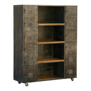 Two-Column Wood and Steel Locker Storage and Shelf Unit, Custom Made For Sale