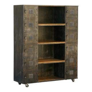 Two-Column Wood and Steel Locker Storage and Shelf Unit, Custom Made