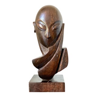 Hand Carved Abstract Mademoiselle Pogany Sculpture After Constantin Brâncusi by Mike Bidlo For Sale
