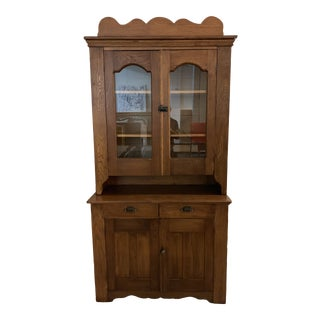 Vintage Two Piece Wood And Glass Hutch For Sale