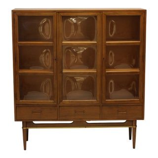 Convex Glass & Walnut Display / China Cabinet For Sale