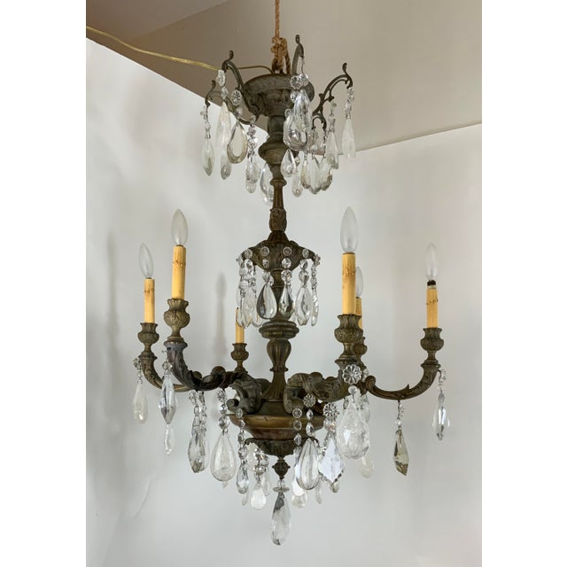 Late 19th / Early 20th Century French Bronze Chandelier With Rock Crystals For Sale - Image 13 of 13