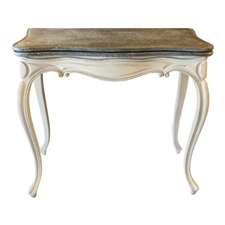 Antique French Console & Game Table With Embossed Leather Top & Painted Finish For Sale