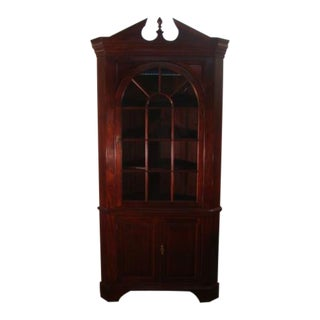 Stickley Solid Mahogany Corner China Cabinet For Sale