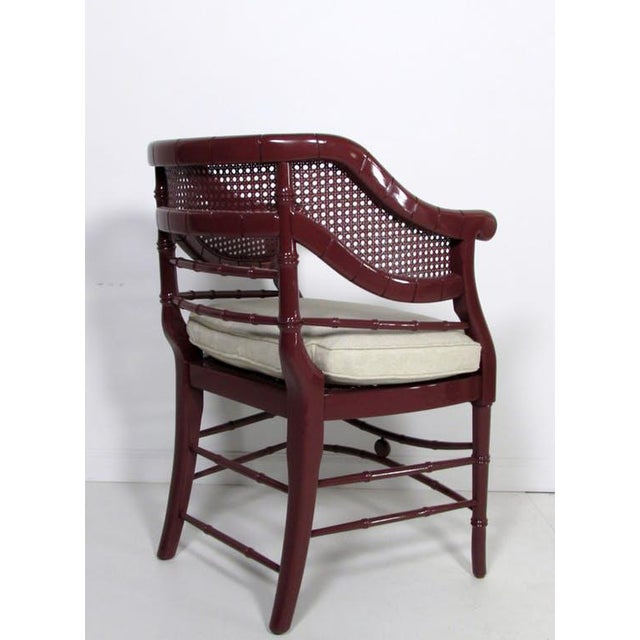 Faux Bamboo & Cane Lacquered Club Chair - Image 4 of 8