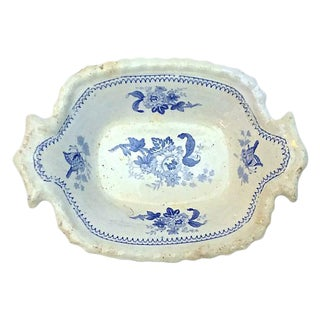 Antique Floral & Butterfly Dish For Sale