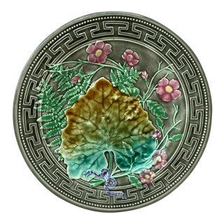 19th Majolica Leaves and Pink Flowers Plate Choisy Le Roi For Sale