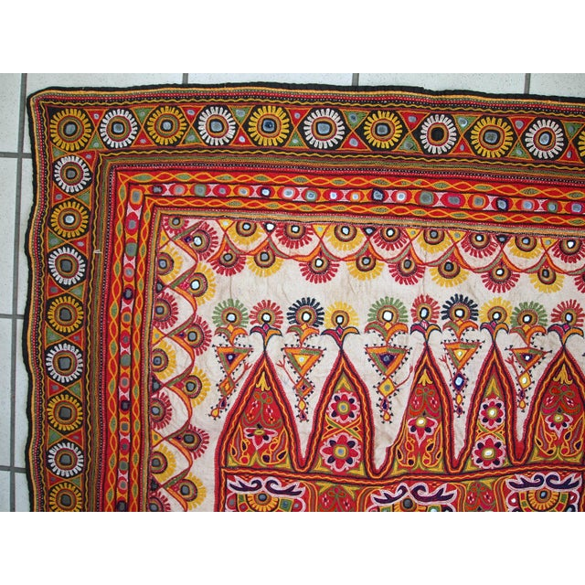 1950s Indian Embroidered Wall Tapestry For Sale In New York - Image 6 of 10