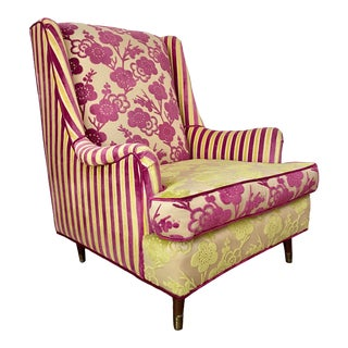 Mid-Century Pink & Lime Green Upholstered Wingback Chair For Sale