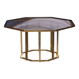 Huge Maison Jansen Octagonal Coffee Table in Massive Brass For Sale